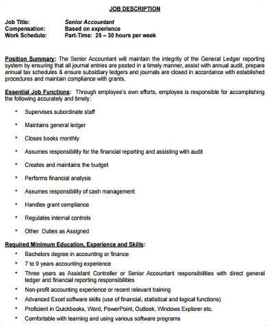 sle senior accountant job description 9 exles in