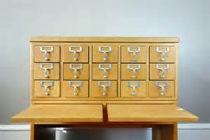 vintage library card catalog 15 drawer w 2 wooden pullouts