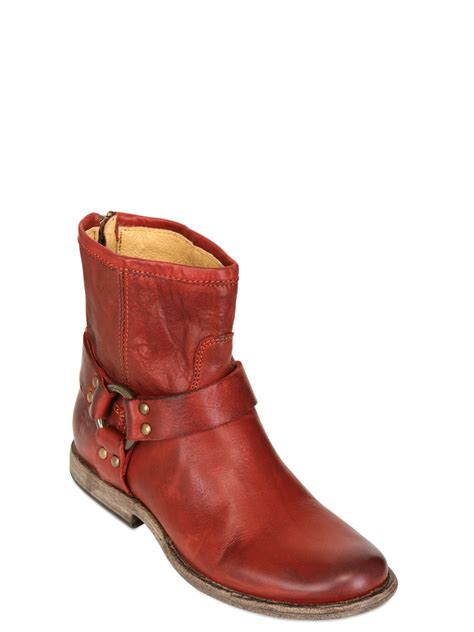 frye phillip harness leather ankle boots in bordeaux