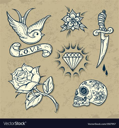 set of old tattoo elements royalty free vector image