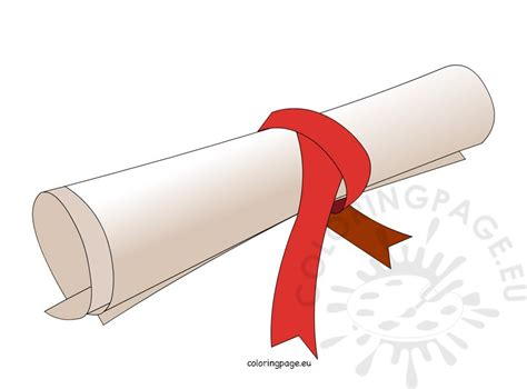 diploma clipart free rolled diploma coloring page