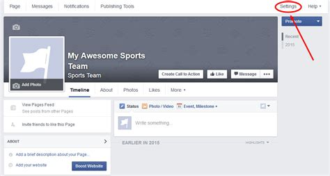 facebook themes settings how to create a professional sports team facebook page