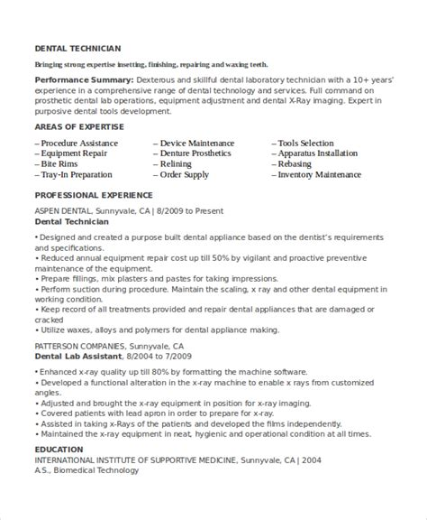 Orthodontic Technician Sle Resume by Resume For Laboratory Technologist 28 Images