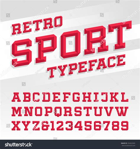 Letter Sle For Sports Beveled Alphabet Vector Font Retro Sport Stock Vector 354022505