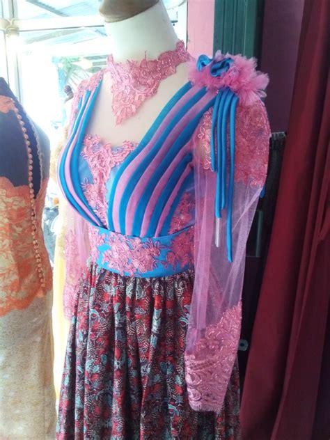 Dress Tille dress tille batik pink biru aplikasi offneisel