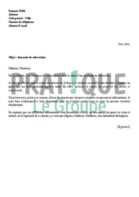 Demande De Financement Lettre Lettre Type De Demande De Subvention Pratique Fr