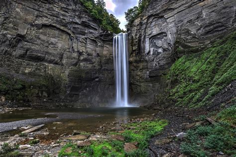 New York Falls In With The Cat by Taughannock Falls State Park Waterfall In New York