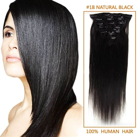 Hair Clip Asli Human Hair 32 inch flowing clip in remy human hair extensions 1b black 11 pieces