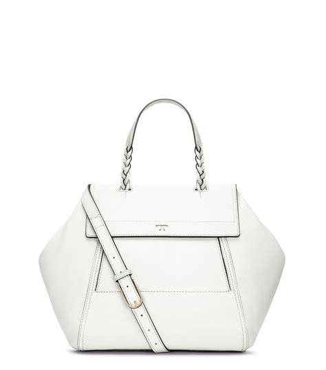 Mj Snap Sling Bahan Taiga With Strab burch half moon satchel in white lyst