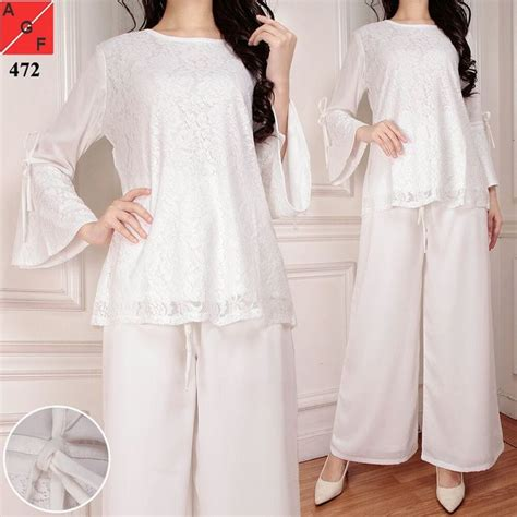 Brigita Set Kulot Bordir 2in1 baju lebaran terbaru 2018 kulot set putih af472 model