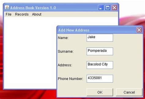java swing application source code jdbc address book version 1 0 free source code