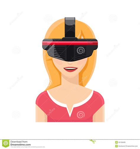 Virtual Decorating woman avatar in virtual reality glasses stock vector