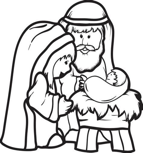 preschool coloring pages of baby jesus free printable mary joseph baby jesus coloring page