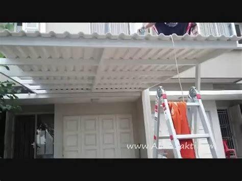 pemasangan kanopi minimalis atap alderon dingin kedap