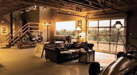 living in a garage 50 man cave garage ideas modern to industrial designs