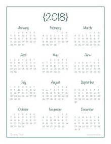 2018 Year At A Glance Calendar 2018 Year At A Glance Calendar Free Printable Alaina