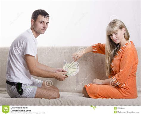 share my couch husband and wife share the salary royalty free stock