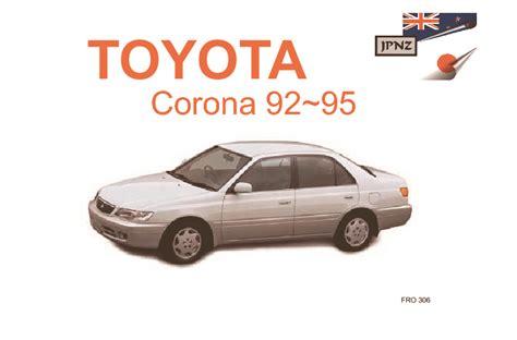 Toyota Corona 1993 Manual Toyota Corona Corona Sf Owners Manual 1992 1995 T19