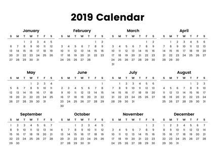 easy  print full year calendar     minimal design focusing    printable