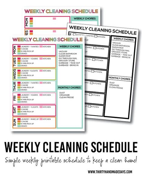 printable monthly house cleaning schedule printable weekly cleaning schedule weekly cleaning