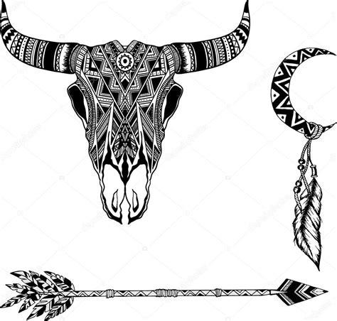 手绘水牛头骨美国原住民图腾 图库矢量图像 169 k ssss 101908738