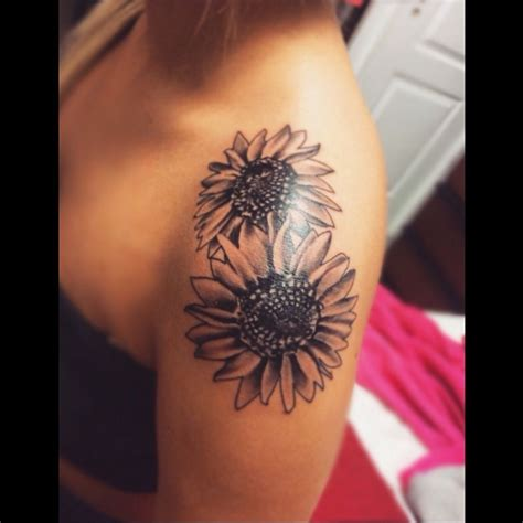 sunflower tattoo on shoulder sunflower shouldertattoo viccjonn tattoos