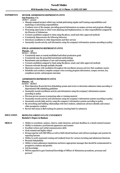 Admissions Representative Sle Resume by Admissions Representative Resume Sles Velvet