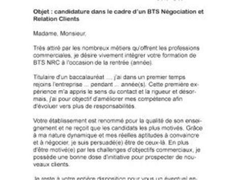 Lettre De Motivation De Bts Nrc Lettre De Motivation Bts Nrc Par Lettreutile