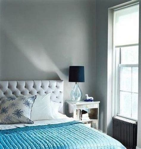 blue and white bedding with gray wall bedrooms in gray