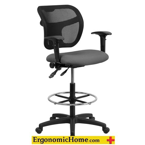 ergonomic home ergonomic home mesh back drafting chair with gray fabric