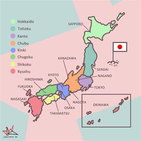 map us japan japan regionen karte