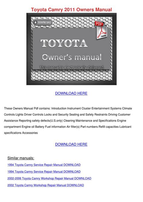 toyota camry 2011 owners manual by sharronrivard issuu