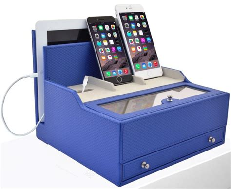 Electronic Charging Station Desk Organizer Charging Valet Office Desk Organizer Electronics Caddy Faux Leather Station Blue