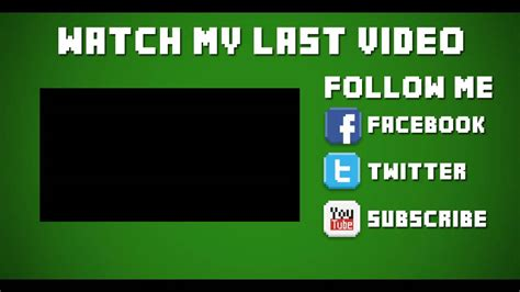 Minecraft Outro Template Maker by Template 18 2d Minecraft Outro After Effects Vegas