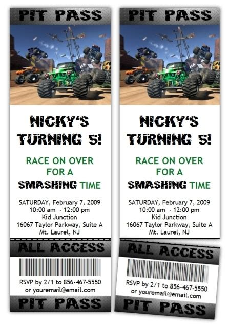 monster jam truck tickets 10 monster jam truck ticket style party invitations