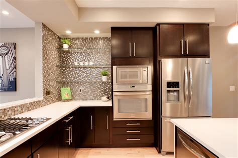 How To Put Up Backsplash In Kitchen wall oven microwave combo kitchen contemporary with dark