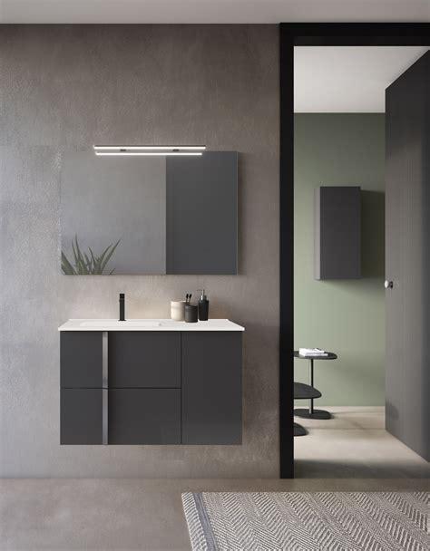 onix mm  drawer vanity unit  chrome handles grey