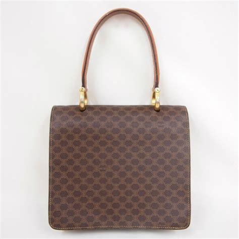 vintage celine double flap monogram handbag hobo brown