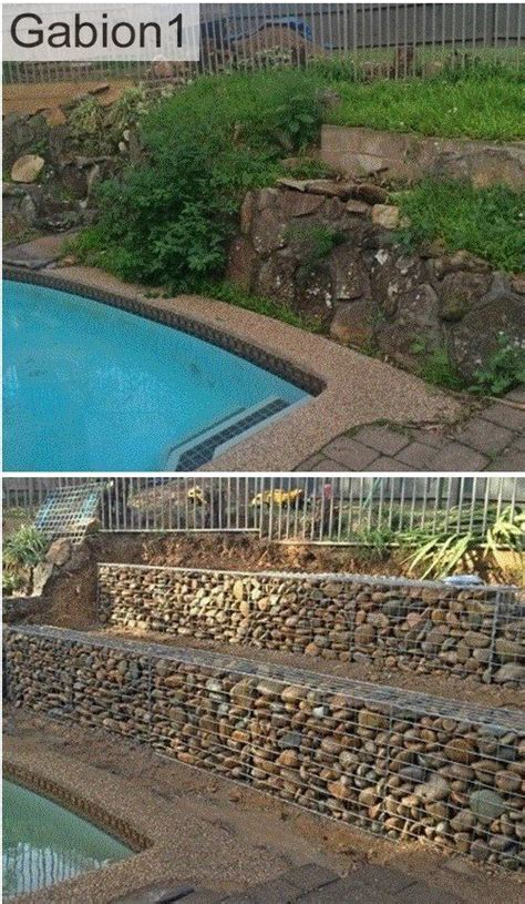 terraced gabion retaining wall using rounded river stones as gabion fill http www gabion1 com