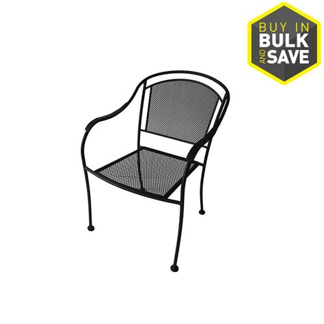 Black Patio Chairs Shop Garden Treasures Davenport Davenport Black Steel Stackable Patio Dining Chair At Lowes