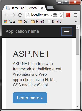 how to create responsive menu in asp net codeproject create first asp net mvc application