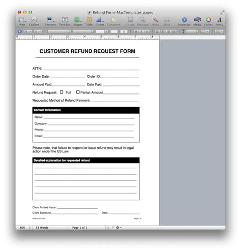 Refund Request Form Template for Apple Pages & PDF