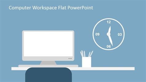 computer workspace flat powerpoint shapes slidemodel