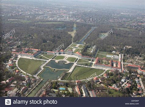 munich germany aerial view of nymphenburg palace stock