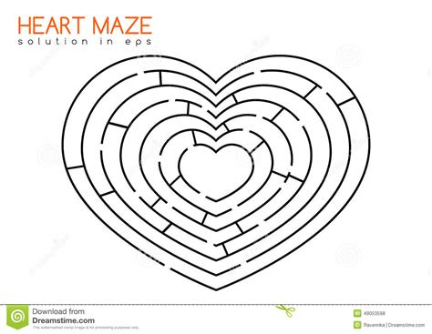 printable heart maze heart maze with solution stock vector illustration of