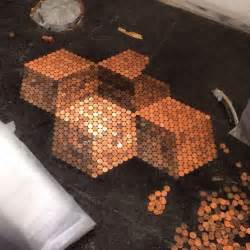 tiling the bathroom floor with pennies for the home pinterest