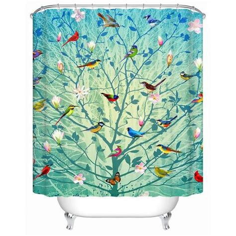 tree and bird shower curtain shower curtain birds and trees nature unboxed
