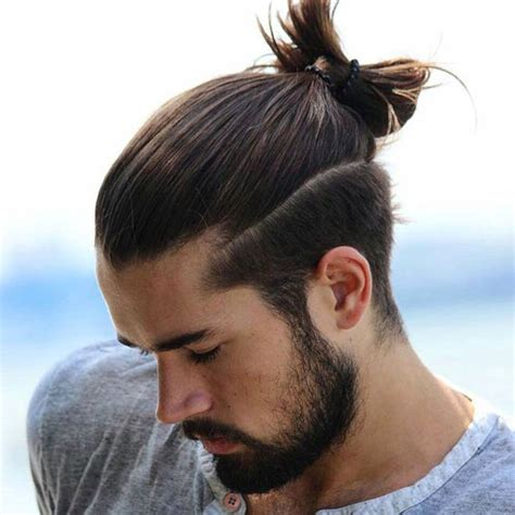 mens hair long pony on top buzz side and back the man ponytail ponytail styles for men