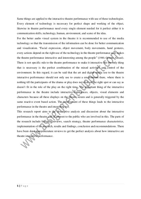 Theatre Essays by Theatre Interactive Performance Essay Sle From Assignmentsupport