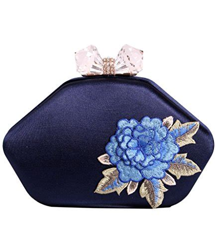 Floral Embroidered Evening Clutch by Tom Clovers Large Hardcase Floral Embroidered Satin